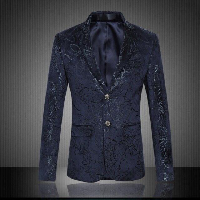 Moda floral chaqueta de los hombres de seda a rayas azul vestido de fiesta delgado fit hombres blazer diseños traje homme ropa hombre tamaño m-6xl XF38