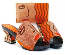 Nice-looking Italian matching shoe and bag sets for party / wedding, African women shoes and bag set MQQ1-17