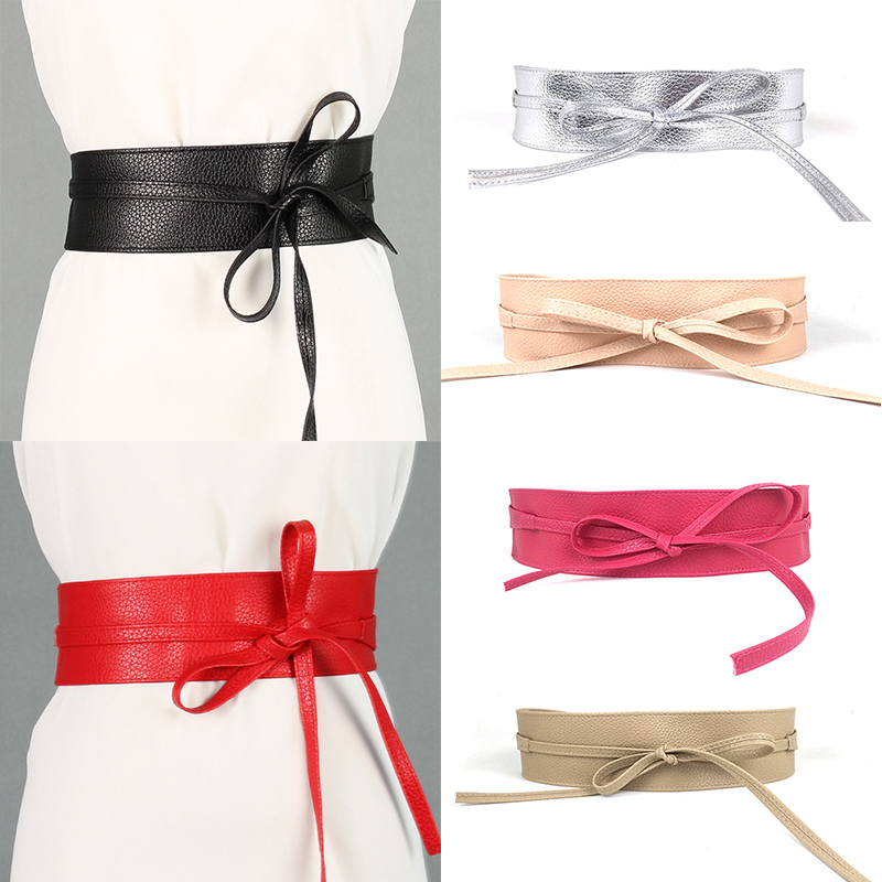 New Fashion Women Belt Soft Leather Wide Self Tie Wrap Around Waist Band Dress