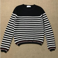 TB Valley Of Italy Wool Color Corrugated Black And White Striped Sweater Female College Wind