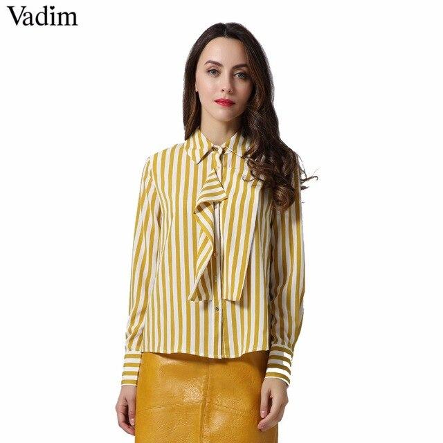 Vadim mujeres sweet ruffles rayas Camisas manga larga turn down collar plisado blusas señoras ropa de oficina marca tops LT2158