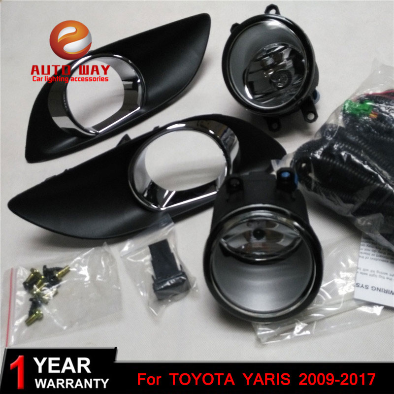 Car styling Halogen fog lights Car Black 2pcs Front Bumper Fog Light Cover Grille Fog Light for TOYOTA YARIS HATCHBACK 2009~2017