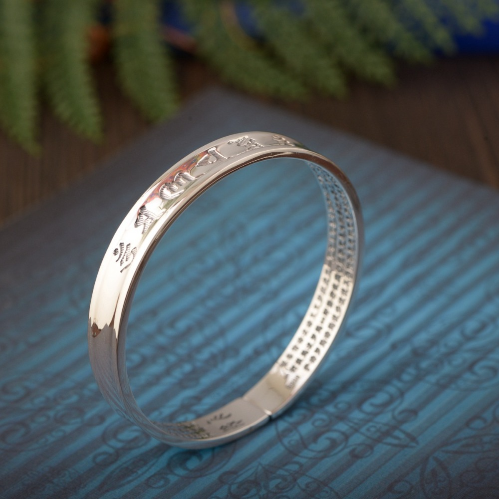 HFANCYW Hot Sale New S990 Thai Silver Retro Craft Bracelet Six Words Heart Sutra Female Opening Style Concave Bangle WholesaleHFANCYW Hot Sale New S990 Thai Silver Retro Craft Bracelet Six Words Heart Sutra Female Opening Style Concave Bangle Wholesale