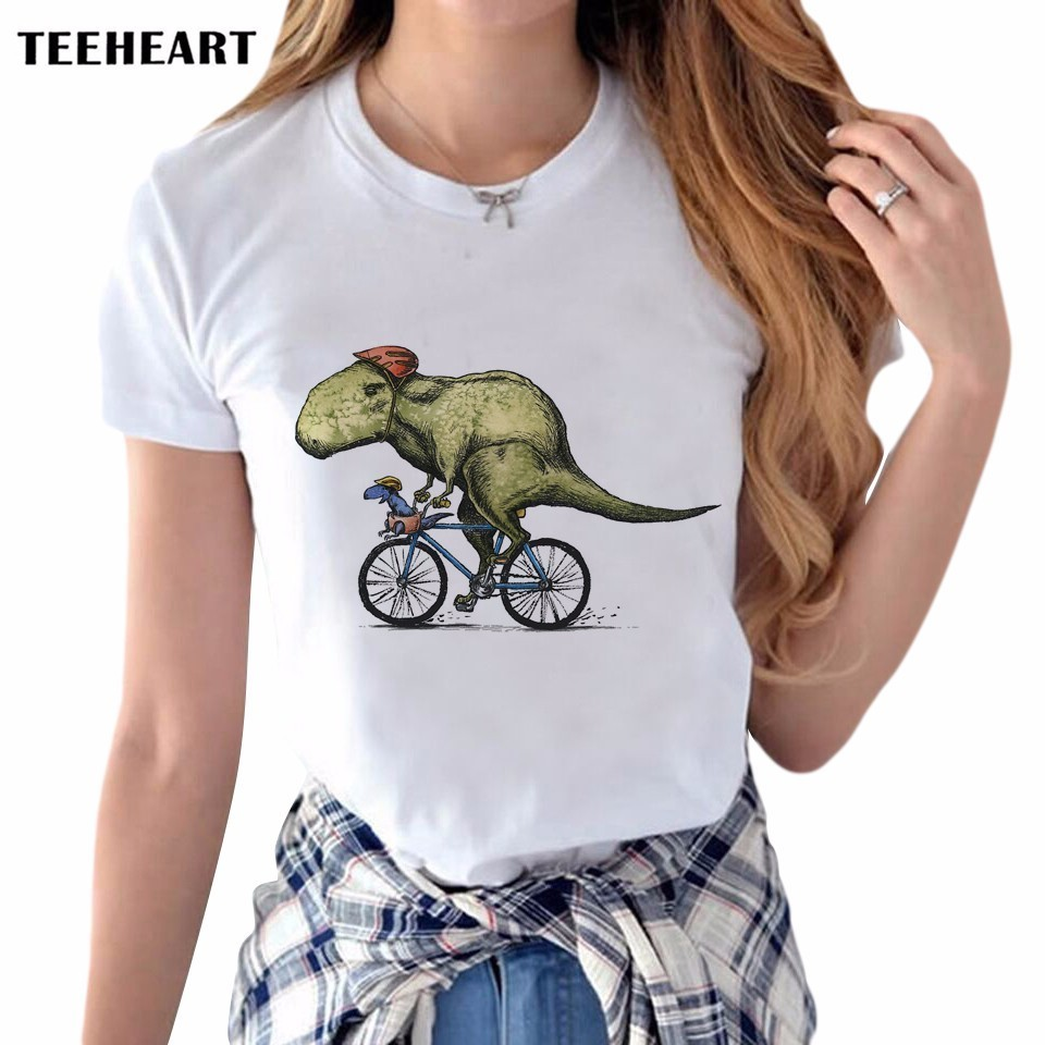 Newest Stylish Dinosaurs Rider Design Printed T Shirt Womens/Lady Animal Painting Short Sleeve Tee Shirt Tops Clothes