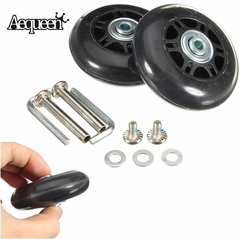 1 Pair 69x28mm Travel Luggage Wheels Replacement Rubber Wheels For Suitcase Axles Deluxe Repair Suitcase Spinner Wheels