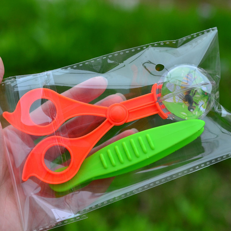 New Nature Exploration Toy Kit Kids Plant Insect Study Tool - Plastic Scissor Clamp Tweezers Inset Round Head Scissors Clamp Toy