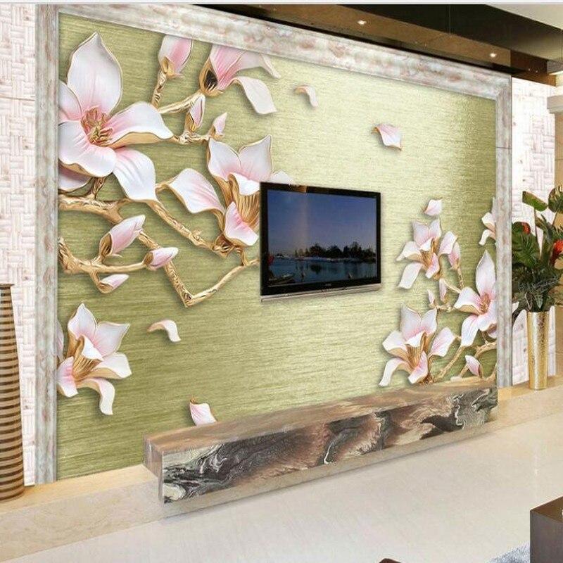 7 69 44 De Réduction Wellyu Personnalisé Grande Fresque Relief Dessin Bleu Magnolia Fleur Tv Toile De Fond Non Tissés Environnement Papier Peint