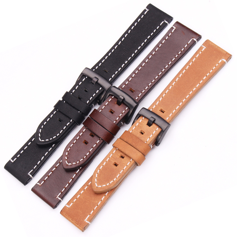 18mm 20mm 22mm Genuine Leather Watch Band Strap Manual Men Thick Brown Black Watchbands Stainless Steel Buckle Accessories купить недорого в Москве