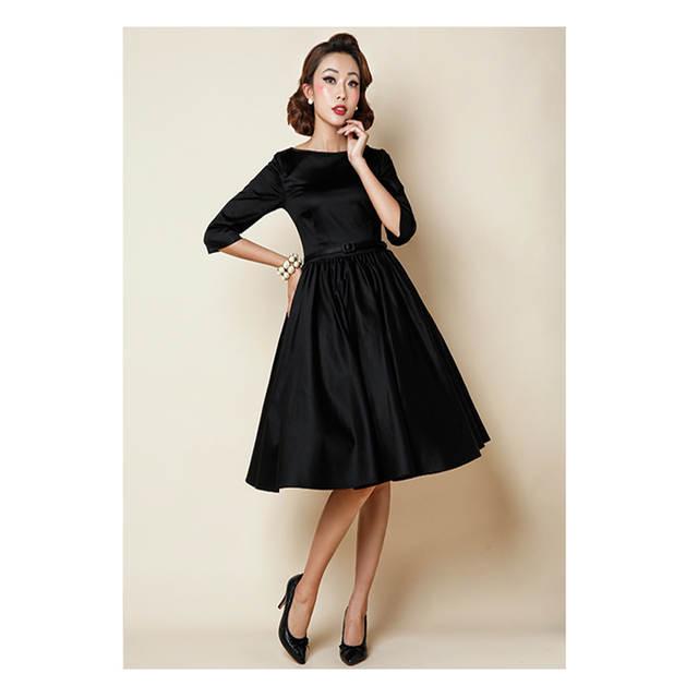 Red Black Audrey Hepburn Style 50s Rockabilly Dress Half Sleeve Vintage  Tunic Party Slim Vintage Retro 33427fc37e08