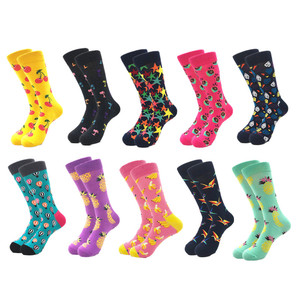 Image 3 - 10pairs/lot Brand Quality Mens Happy Socks Combed Cotton colorful Funny cartoon Socks fashion long male compression Casual sock