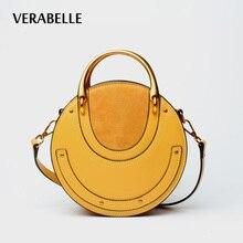 VERABELLE 2018 luxury brand split leather barrel shape handbag smiling face casual vintage shoulder women purse