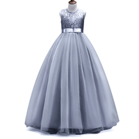 Kids Girls Elegant Wedding Lace Girl Dress Princess Party Pageant Formal Long Dress Sleeveless Tulle Dress