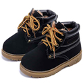 2016 New Winter Baby Boys Girls Snow Boots Leather Children Ankle Boots Warm Plush Lace Up Kids Shoes Oxford Bottom For Toddlers