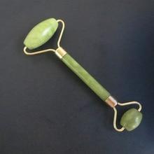 Двойной зеленый нефритовый роликовый лицевой ролик массажер для лица для похудения лица Подтяжка шеи masajeador массаж лица камень красота забота о здоровье