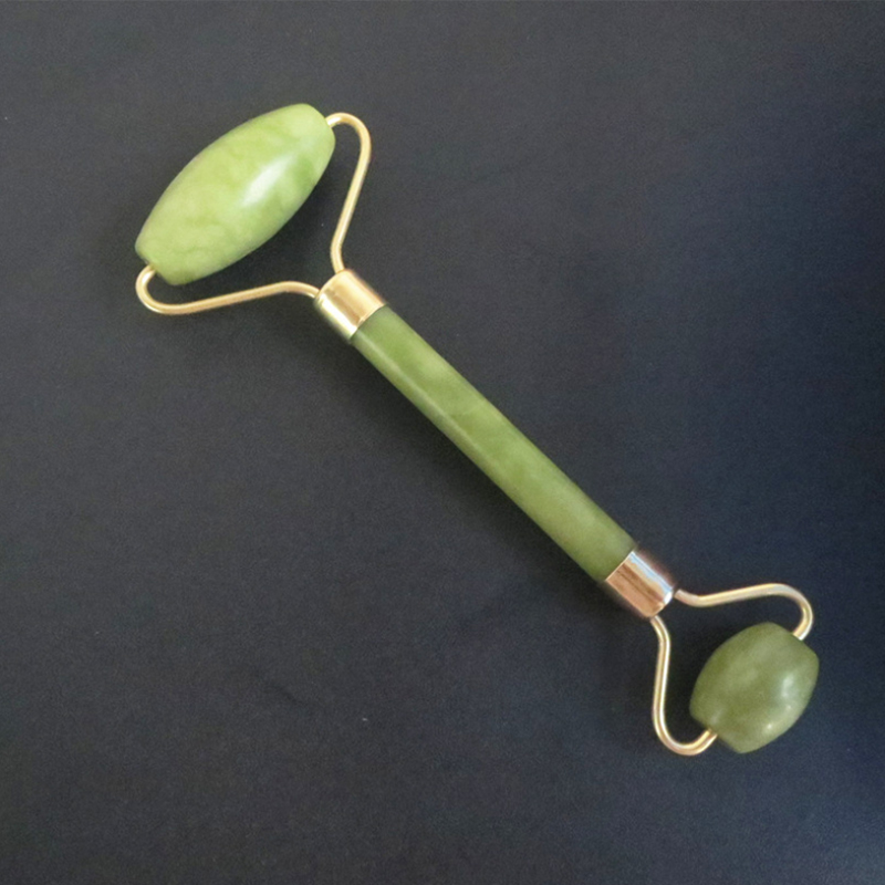 Double Green Jade Roller Facial Roller Face Massager Slimming Face Neck Lift Masajeador Facial Massage Stone Beauty Health Care