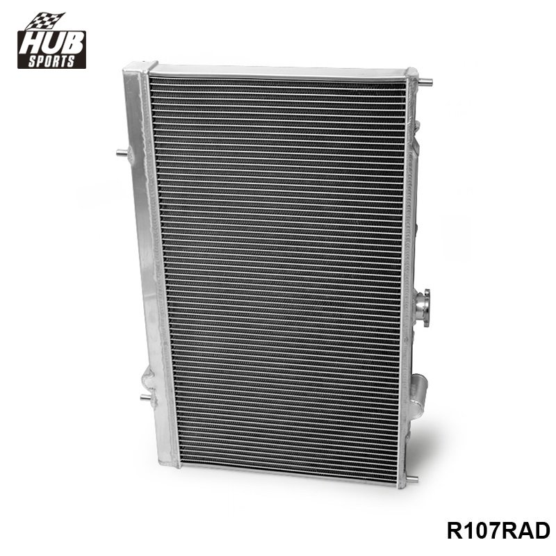 For Mitsubishi Lancer Evo 4 5 6 Aluminium Radiator Rad Upgrade 42mm Core Depth 2-Row HU-R107RAD 42mm 2 row aluminum alloy racing cooling performance radiator for mitsubishi lancer evo 7 8 9 2001 2007mt r109rad