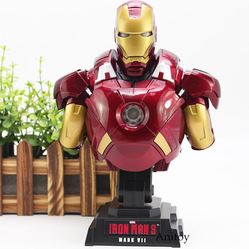 Super Hero Iron Man Action Figure Iron Man 3 MARK VII Toy with LED Light 23cm