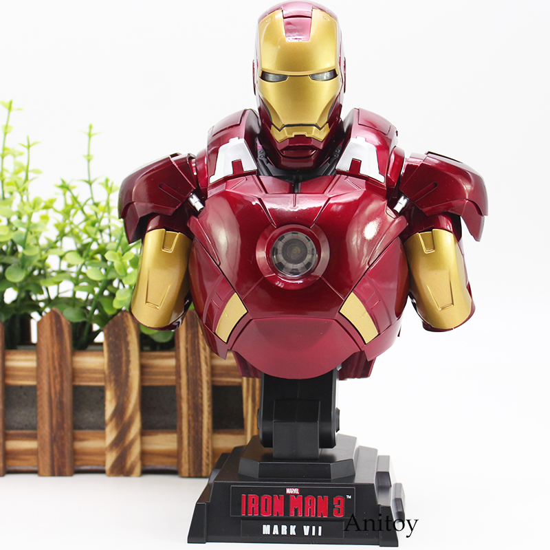 Super Hero Iron Man Action Figure Iron Man 3 MARK VII Toy with LED Light 23cm KT4552