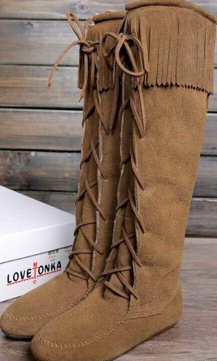 Women Autumn Winter Flats Genuine Leather Tassel Lace Up Round Toe Fashion Warm Fringe Knee High Boots Size 35-40 SXQ0818