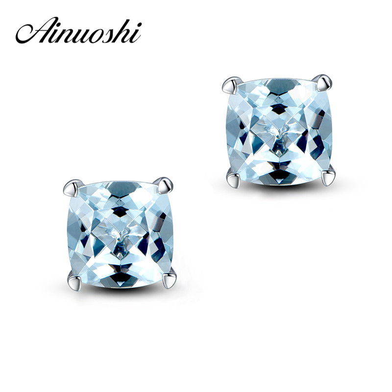 AINUOSHI 4 Carat Topaz Earring Cushion Cut Natural Light Blue Stud Earring Women Engagement Square Earrings