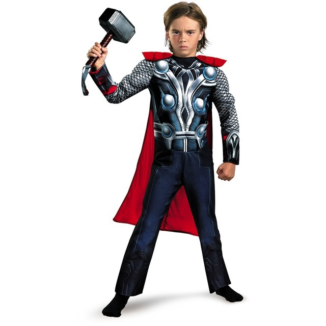 SuperHero Kids Muscle Thor Cosplay Costumes Clothes With Harmmer Avengers Child Super Hero Halloween Costumes Children's Day