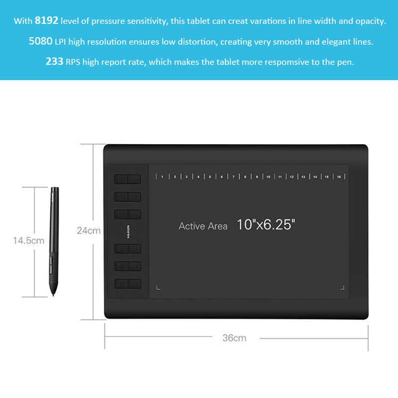Huion Mới 1060 Plus Đồ Họa Máy Tính Bảng 8192 Cấp Độ Chuyên Nghiệp 8GB USB Vẽ Viên Hoạt Hình Với Quà Tặng