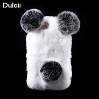 For IPhone 6s 6 Panda Shape Warm Rabbit Fur Pearl Rhinestone Hard Case Cover For IPhone6