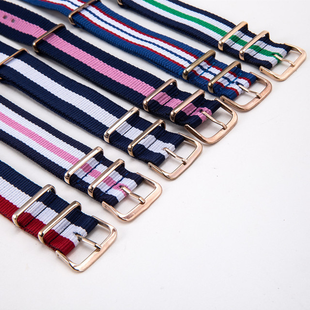 Fashion Casual Luxury Brand Nylon Strap 20mm Rose Gold Clasp Strap for NATO Stra
