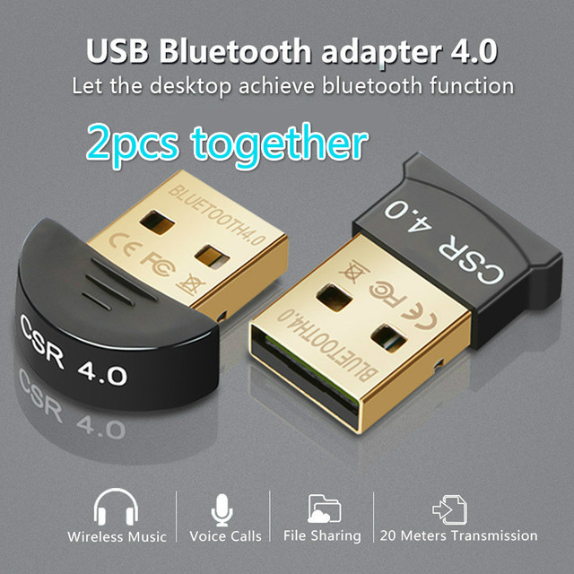 2pcs together bluetooth 4.0 usb adapter mini USB Dongle for computer PC wireless USB Bluetooth Transmitter receiver Adapter
