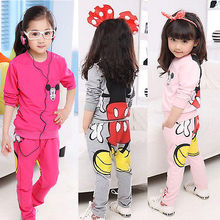 Free shipping Baby Girls Kids Cartoon 2015 children clothing sets Tops Hoodies+Pants Two-pieces Outfits kids clothes