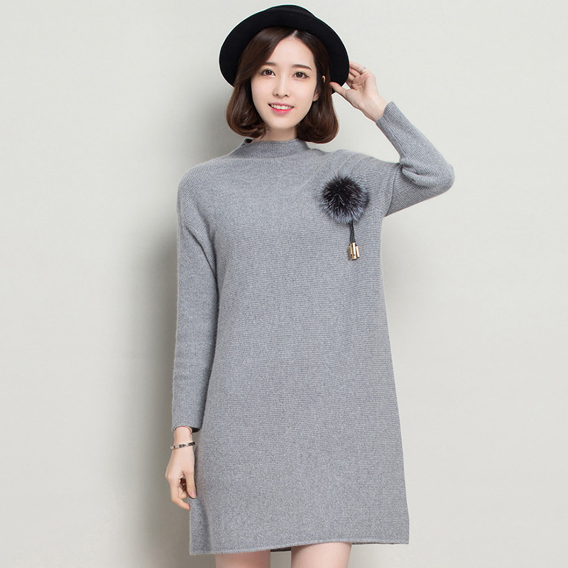 2016 Autumn Winter Knee Length Knitting Dress Women