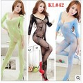 Free shipping Interest jumpsuits Jacquard sides open files stocking s v-neck jumpsuits nets garment sleeve fishnet stockings
