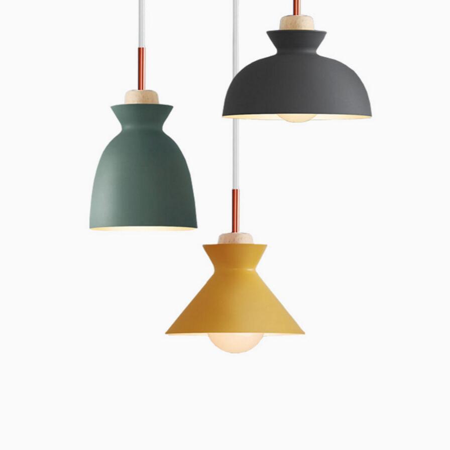 Мода для внутреннего освещения Подвесные светильники дерева и алюминия ресторан лампы бар кофе столовая светодиодный подвесной светильни...