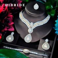 HIBRIDE Beauty Big Jewelry Luxury Double Tone Women Wedding Naija Bridal Cubic Zirconia Necklace Dubai Dress Jewelry Set N 851