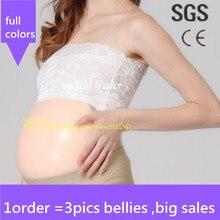Envío gratis, completo meses de silicona mujeres embarazadas vientre de silicona panza de estómago para mujeres y actores