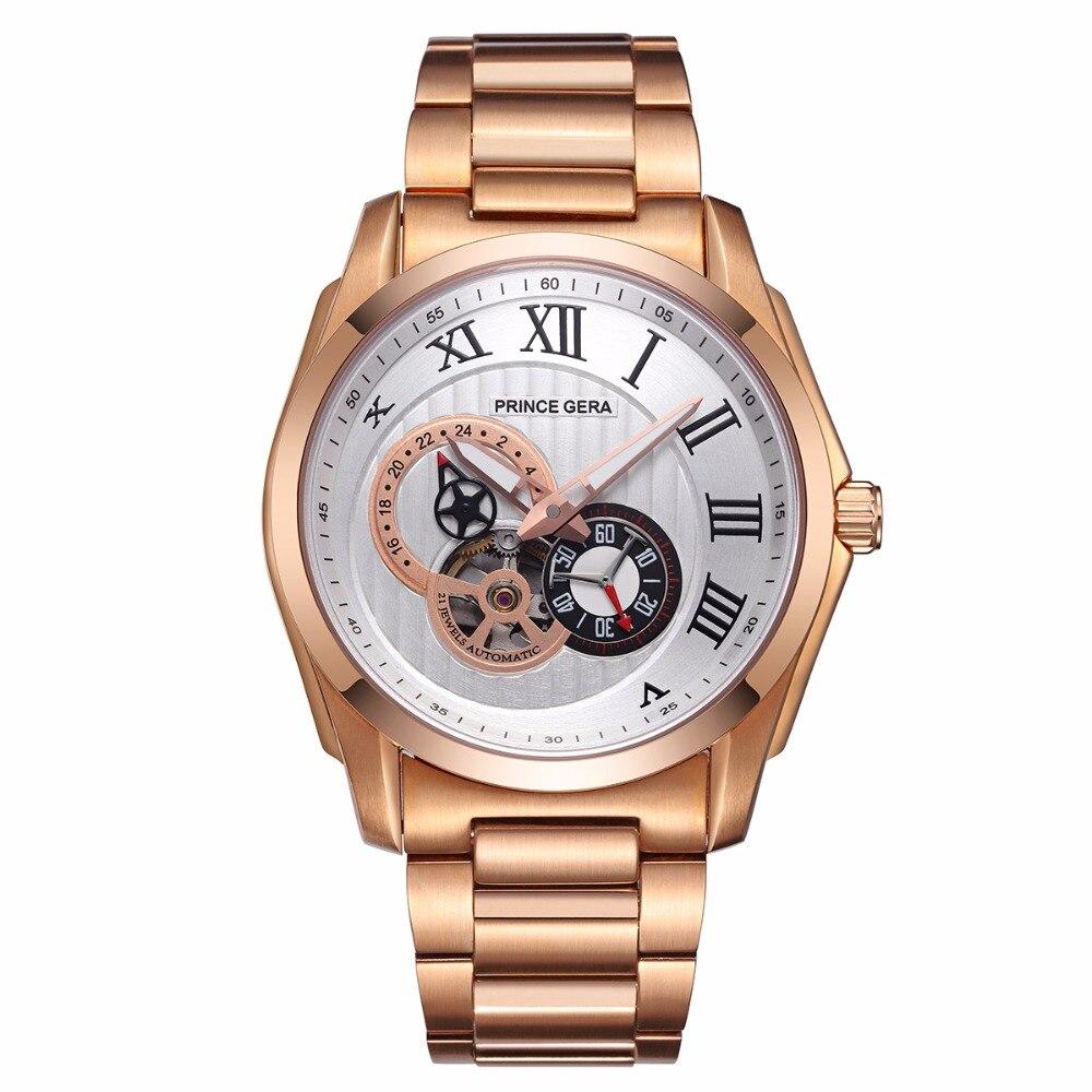 PRINCE de GERA 18 K Or Hommes De Luxe Robe Automatique Montre-Bracelet Mécanique 21 Jewel Japonais Mouvement Tourbillon