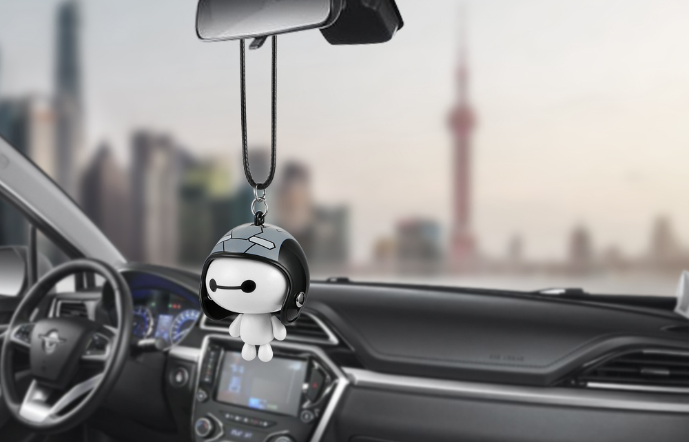 HTB1kBAeaYSYBuNjSspiq6xNzpXaK Car Pendant Cute Helmet Baymax Robot Doll Hanging Ornaments Automobiles Rearview Mirror Suspension Decoration Accessories Gifts