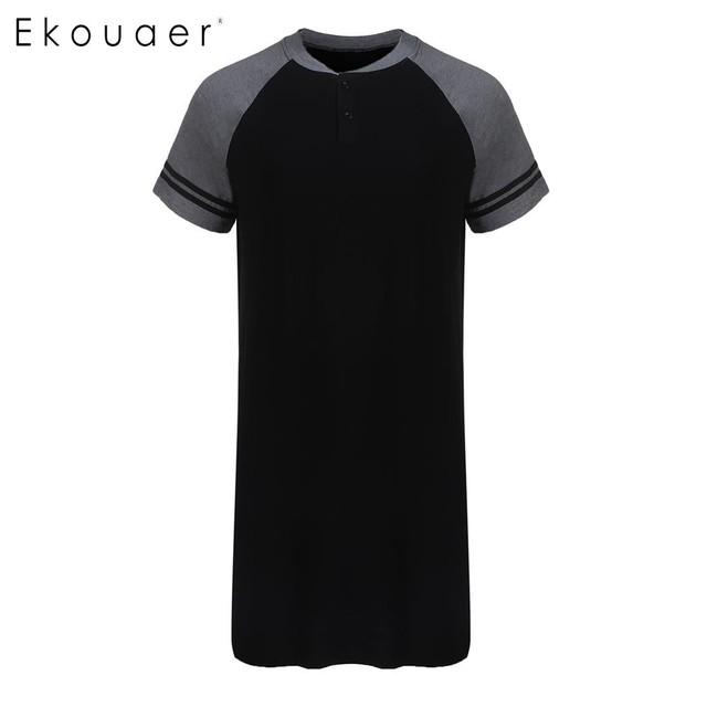 Ekouaer Men Sleepwear Raglan Sleeve Nightshirt Patchwork Long Lightweight Half Button Loose Pajama Casual Sleepshirt Homewear