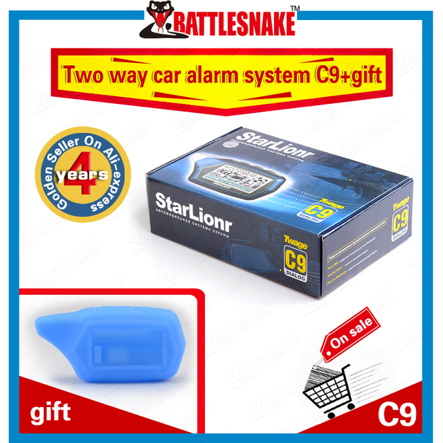 Free shipping two way car alarm system Starlionr C9 with remote engine start Russian version car alarm system C9 alarm+C9 case