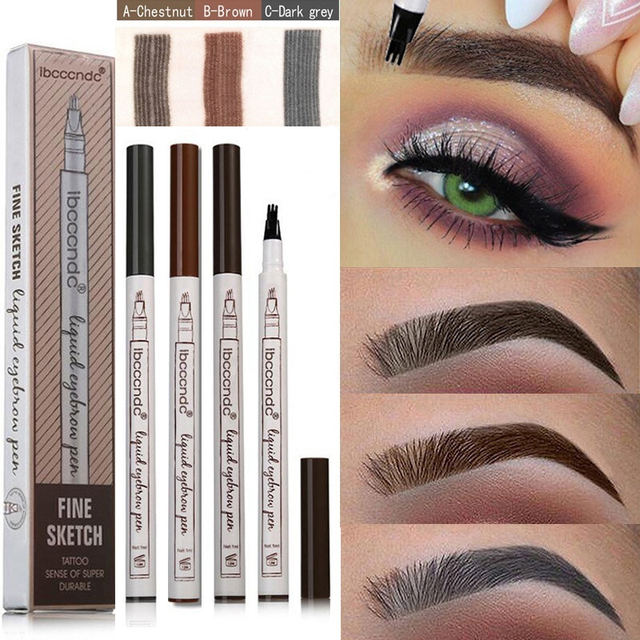 Microblading Eyebrow Pencil Waterproof Fork Tip Brow Eye Pen Long-lasting Professional Fine Sketch Liquid Tattoo Eyebrow Pencil