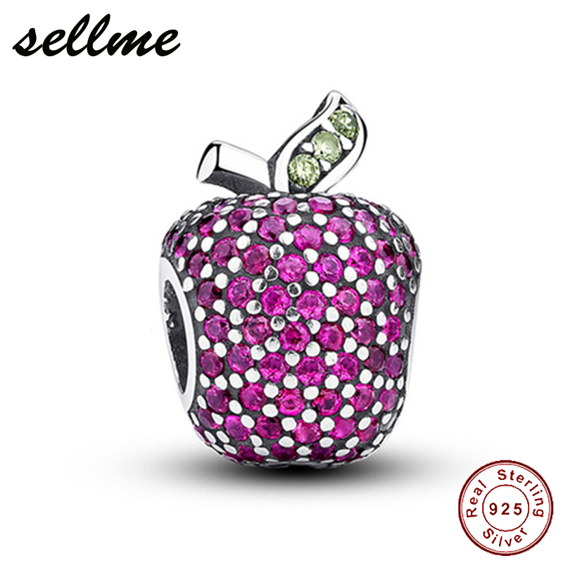 Authentic 925 Sterling Silver Fully Pave Red Apple Charm Bead Fit Pan Bracelet DIY Silver Jewelry
