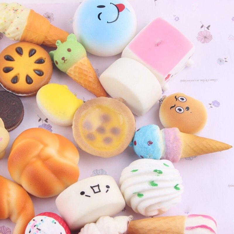 10 Teile/satz Brot Bunte Squishy Trägern Weicher Telefon Tropfen Ornament Handy Dekoration Spielzeug