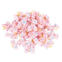 50pcs Wholesale Dog Bows Floral Ribbon Bowknots with Rubber Bands Hair Accessories for Small Dogs Yorkshire Shih Tzu