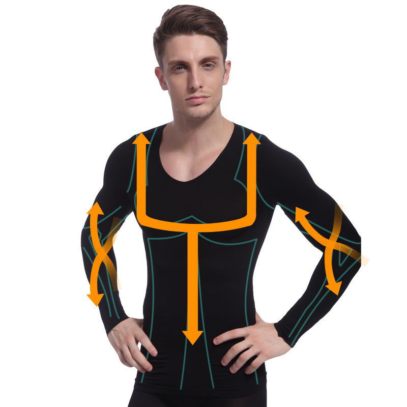 Men Hot Shapers Body Absorbant Underwear Body Shaper Belly Cincher Waist Tight Weight Lose Corset Long Sleeve Slimming Tank Tops
