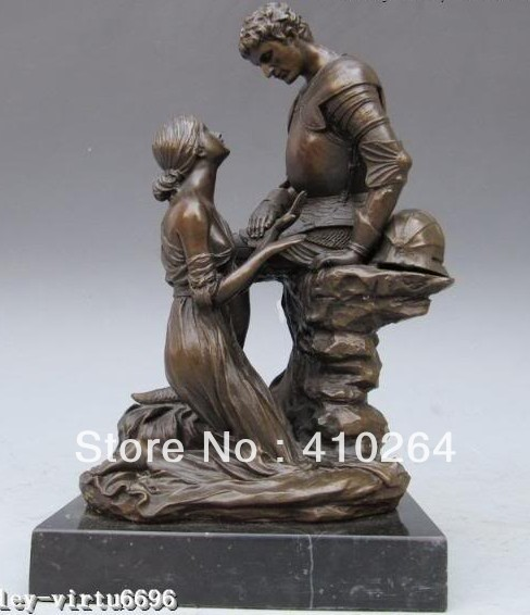 ] Shipping Exquisite Greek Mythology Bronze Marble maiden impetrate warrior Statue
