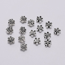 50pcs/lot 6mm Tibetan Antique Silver Seed Spacer Flower Bead Metal Loose Beads For DIY Jewelry Making Bracelet Necklace Earrings