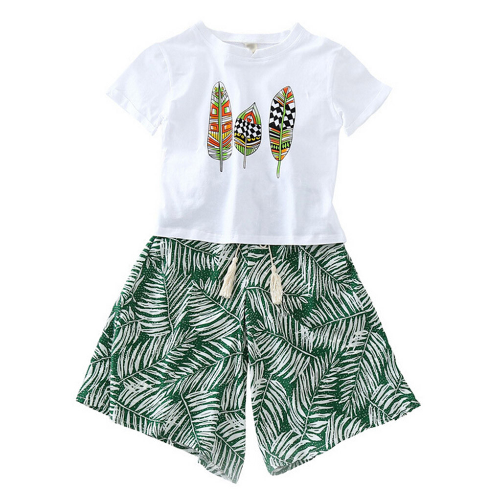 Toddler Kid Baby Girls Outfits Clothes Short Sleeve T-shirt Tops+Short Pants Set