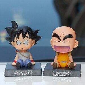 Anime Dragon Ball Goku Kulin Action Figure Swing Head Car Decorations Toys Children Kids Gift Birthday Cartoon Collection Doll
