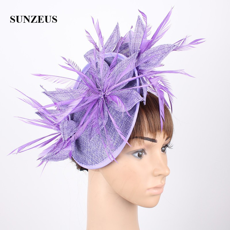 Feather Flowers Wedding Hat for Bridal 2020 Women's Linen Fascinators Hats with Hair Pins cappellino cerimonia SH87