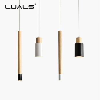 Nordic Pendant Lights Creative Metal Suspension Luminaire Wood Art Deco Pendant Lamps Hanging Light Simple Indoor LED Lighting